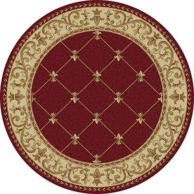 Sensation Red 7 ft. 10 in. x 7 ft. 10 in. Round Traditional Area Rug