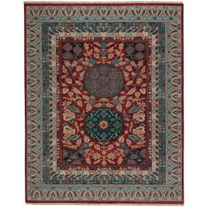 Capel Biltmore Plantation Dark Red Blue Journet 5 ft. 6 inch x 8 ft. 6 inch Area Rug by Capel