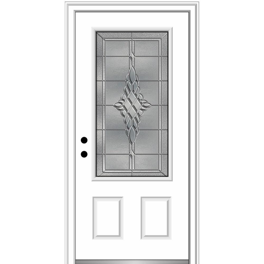 36 in. x 80 in. Grace Right-Hand Inswing 3/4-Lite Decorative Primed Fiberglass Prehung Front Door, 4-9/16 in. Frame