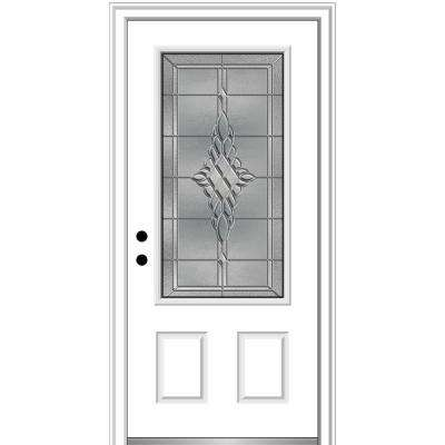 36 in. x 80 in. Grace Right-Hand Inswing 3/4-Lite Decorative Primed Fiberglass Prehung Front Door on 6-9/16 in. Frame