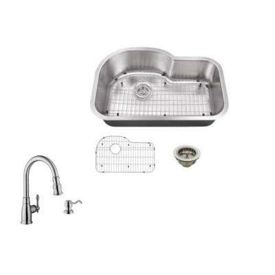 Undermount 32 in. 18-Gauge Stainless Steel Kitchen Sink in Brushed Stainless with Arc Kitchen Faucet