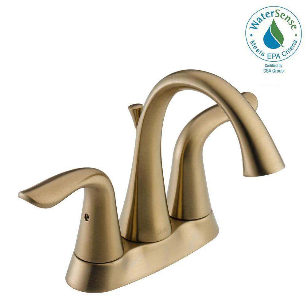 Delta Lahara 4 in. Centerset 2-Handle Bathroom Faucet with Metal Drain  Assembly in