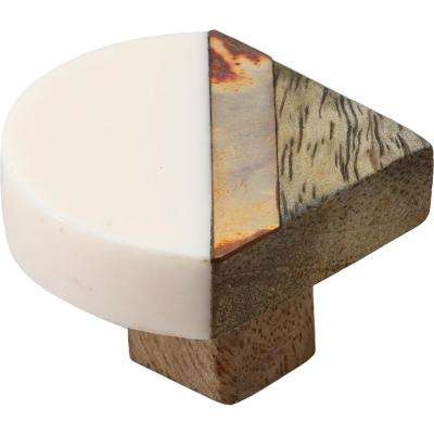 Inglewood 1-2/3 in. Halfround White and Wood Cabinet Knob