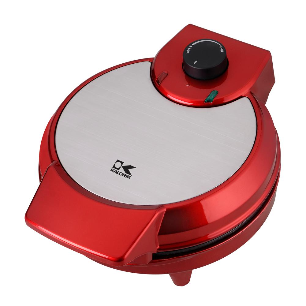 KALORIK Heart Shape Waffle Maker, Red/Orange Put your heart out on the table with the KALORIK Heart-Shape Waffle Maker. Make perfect, heart-shaped, waffles the easy way. Pour your favorite waffle batter onto the plates and close the lid-in minutes, you will have 5 heart-shaped waffles that are ready to serve. Equipped with an adjustable temperature control knob, you can cook your waffles to perfection-make them as soft or as crispy as you would like. The waffle maker's nonstick heating plates allow for easy cleaning and its cord-wrap feature allows for hassle-free storage. Additionally, the unit can be stored upright, saving you space. Easy to use, clean, and store, the KALORIK Heart-Shape Waffle Maker is ideal for holidays, celebrations, or whenever you are craving a fun and delicious treat to share. Color: Red/Orange.