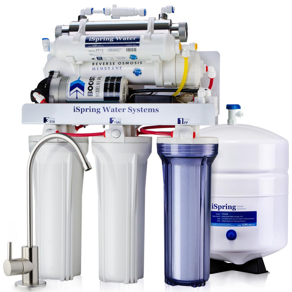 ISPRING 6-Stage with Booster Pump and UV Sterilizer 100GPD Under Sink Reverse Osmosis Drinking Water Filtration System