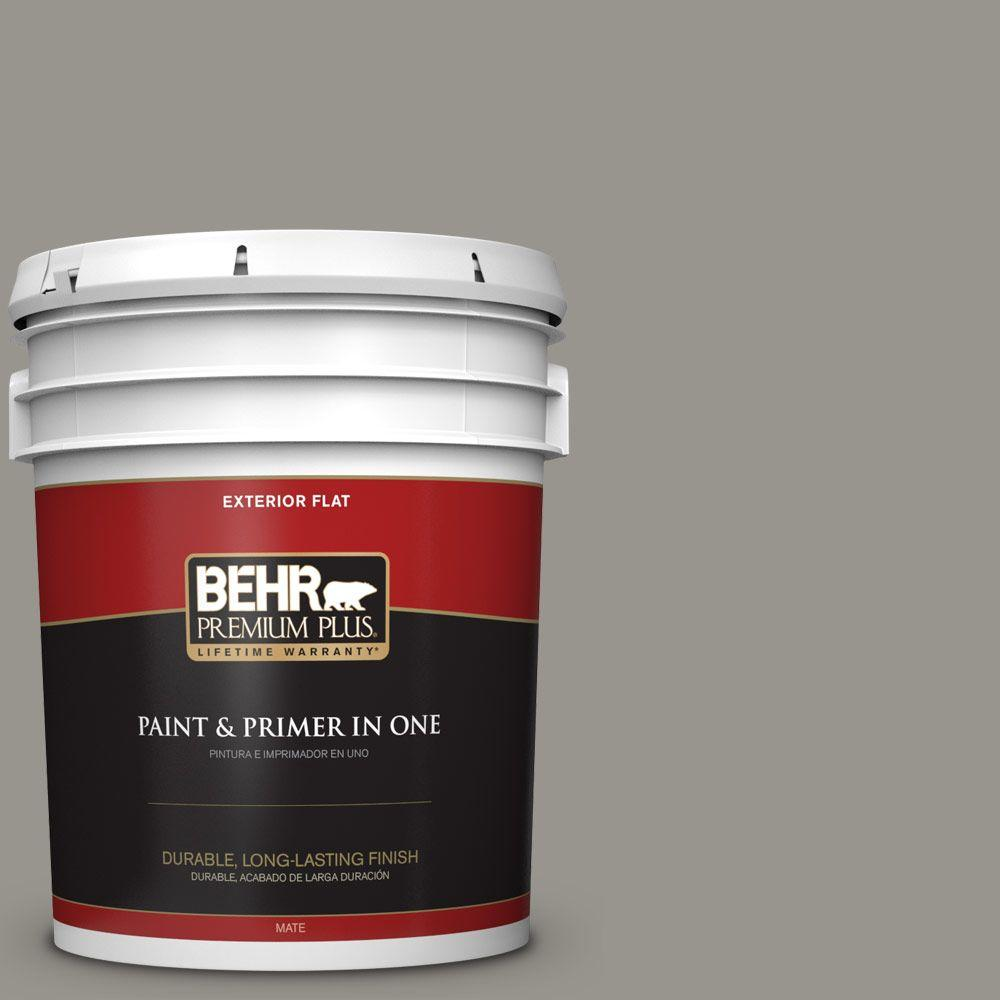 5 gal. #N360-4 Battleship Gray Flat Exterior Paint and Primer in