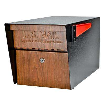 Mail Manager Locking Wood Grain Post Mount Mailbox with High Security Reinforced Patented Locking System