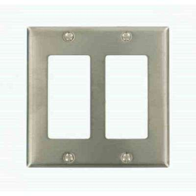 2-Gang Decora Wall Plate, Stainless Steel