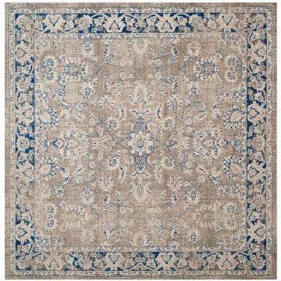 Patina Taupe/Blue 4 ft. x 4 ft. Square Area Rug