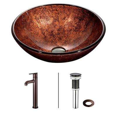 Mahogany Moon Vessel Sink in Copper with Faucet in Oil Rubbed Bronze
