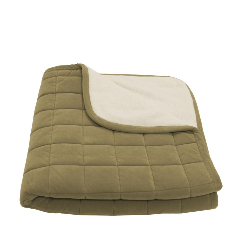Carolina Pet Company Small Sage Box Quilt Microfiber and Sherpa Throw Bed-DISCONTINUED