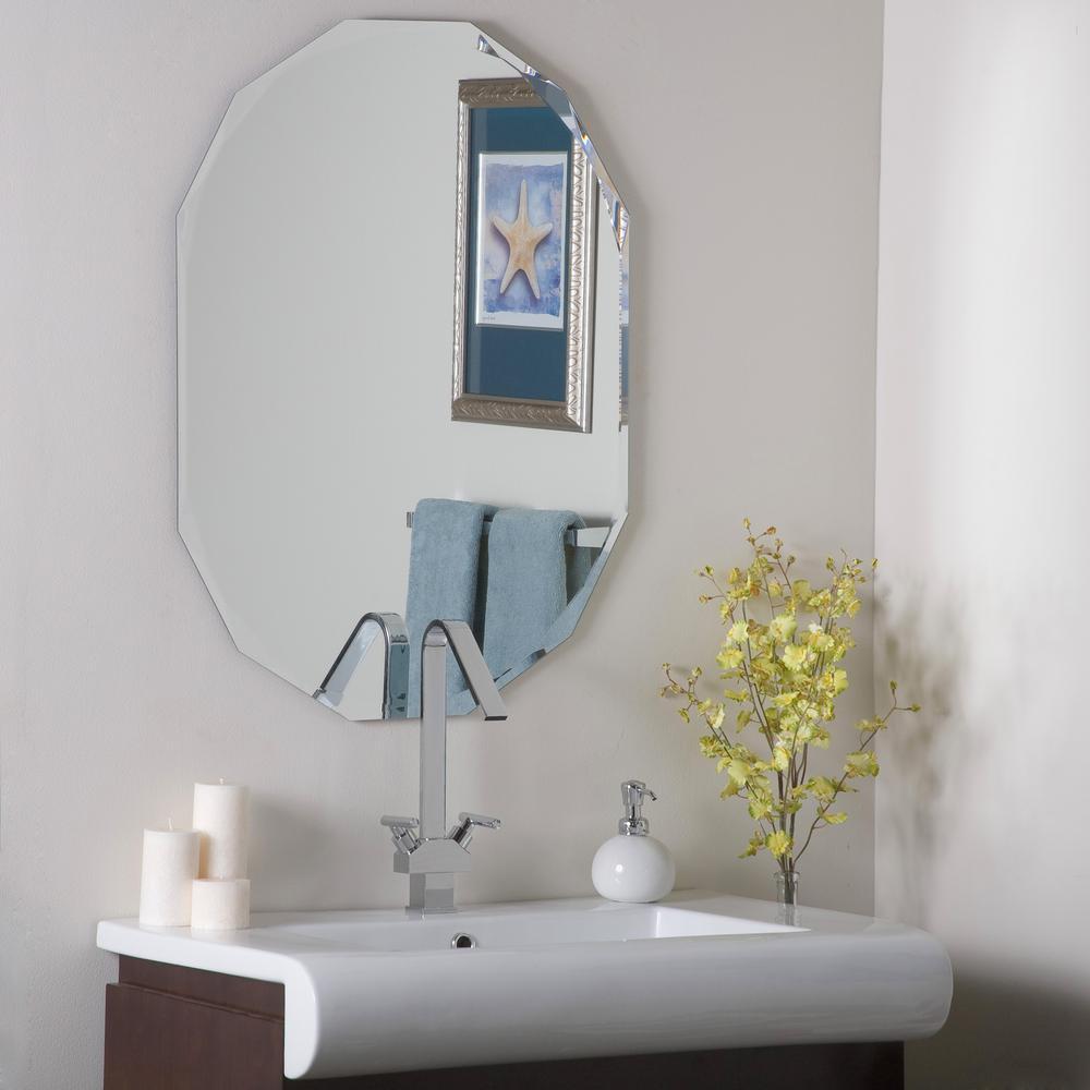 24 in. W x 32 in. H Frameless Octagon Beveled Edge Bathroom Vanity Mirror in Silver