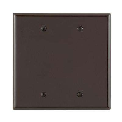 2-Gang No Device Blank Wallplate, Midway Size, Thermoset, Box Mount, Brown
