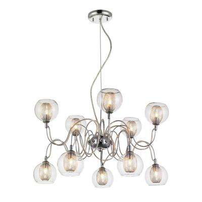 Peak 10-Light Chrome Retro Chandelier with Clear Bowl Glass Shades, Bulbs Included