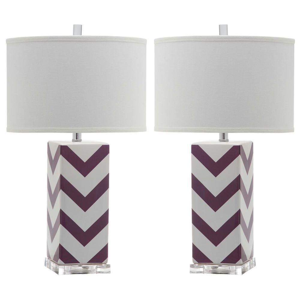 Chevron 27 in. Purple Stripe Table Lamp (Set of 2)