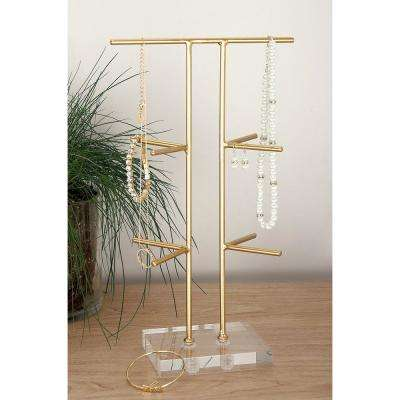 8 in. x 14 in. Gold Metal and Acrylic Jewelry Holder