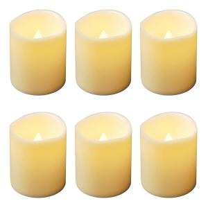 LED Amber Battery Operated Mini Pillar Candles Set of 6