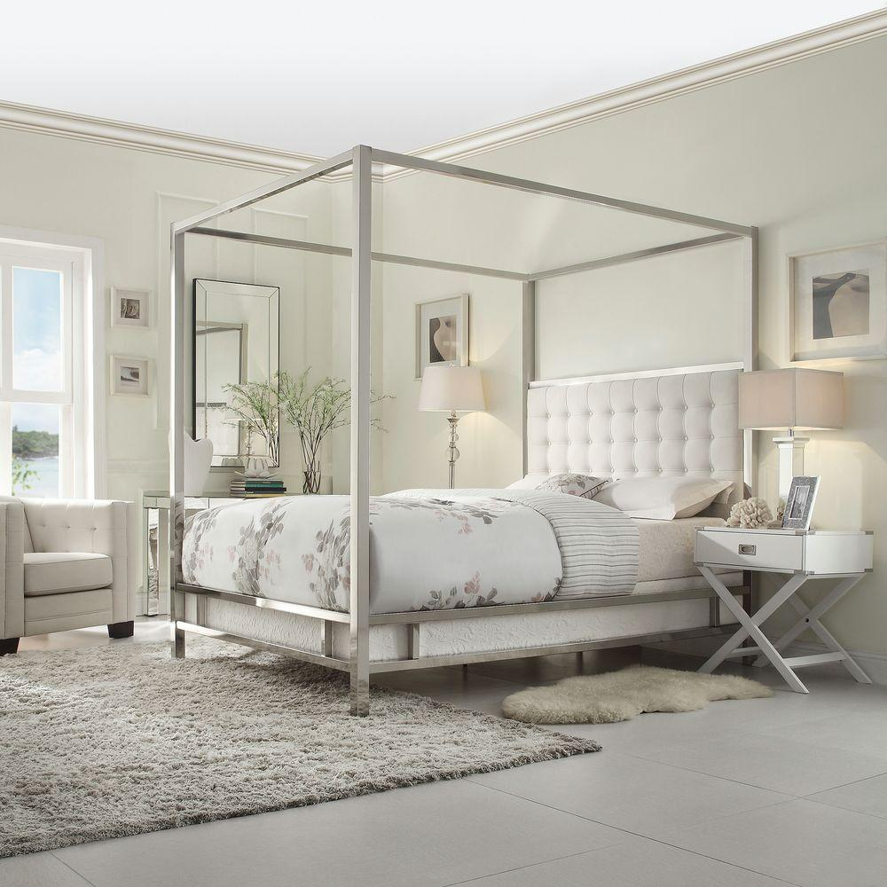 HomeSullivan Taraval White Queen Canopy Bed & HomeSullivan Taraval White Queen Canopy Bed-40E739BQ-1WLCPY - The ...