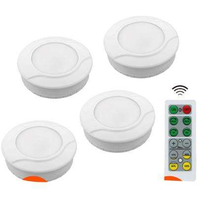 Wireless Bright Battery Powered Safety LED Puck Lights with Remote Control  and Dimmable Feature, Mounting Tape (4-Pack)
