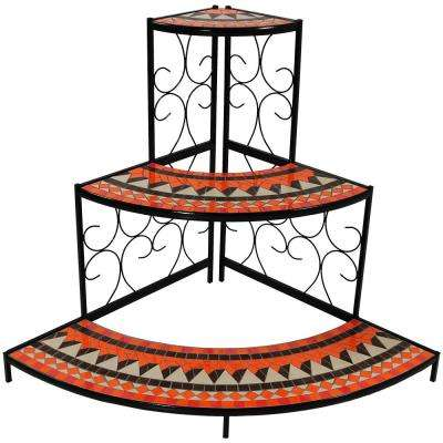 40 in. Mosaic Tiled Steel Corner Plant Stand Shelf