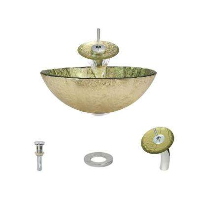 Glass Vessel Sink in Gold Foil with Waterfall Faucet and Pop-Up Drain in Chrome