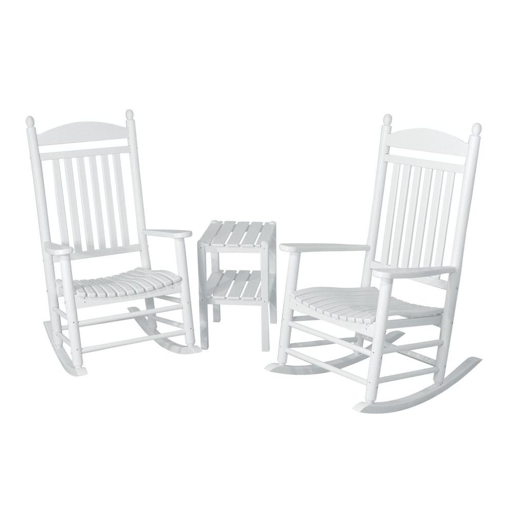 POLYWOOD Jefferson White 3-Piece Patio Rocker Set
