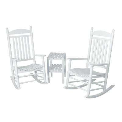 Jefferson White 3-Piece Patio Rocker Set