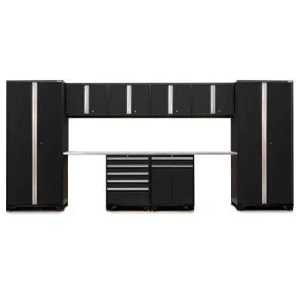 Pro 3.0 85 in. H x 184 in. W x 24 in. D 18-Gauge Welded Steel Garage Storage Cabinet Set in Black (10-Piece)