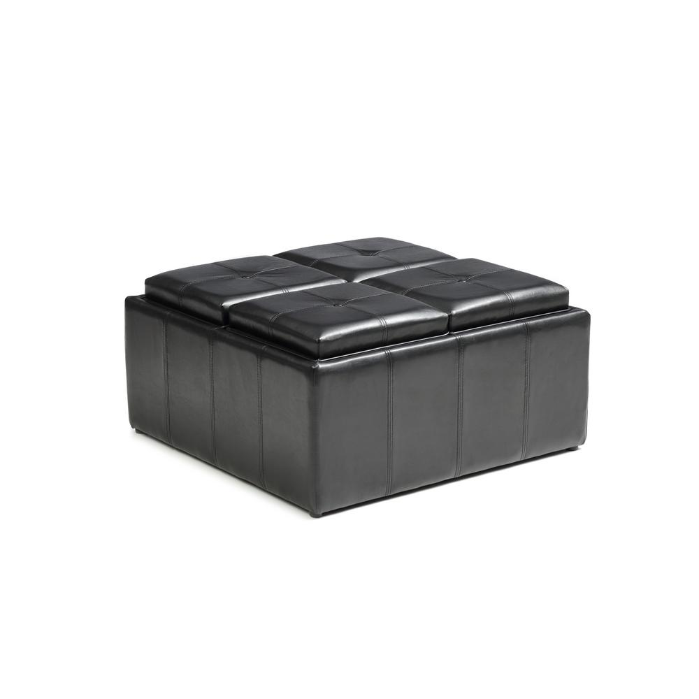 Hodedah Faux Leather Storage Black Ottoman With 4 Flip
