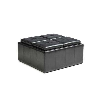 Faux Leather, Storage Black Ottoman with 4-Flip over Serving Trays
