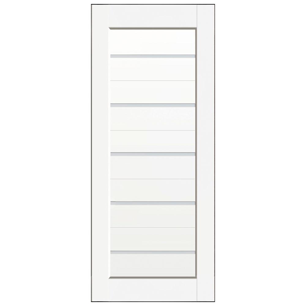 18 in. x 80 in. Glacier White Single Panel with 5 Lite Satin Glass Solid Core Composite Interior Door Slab