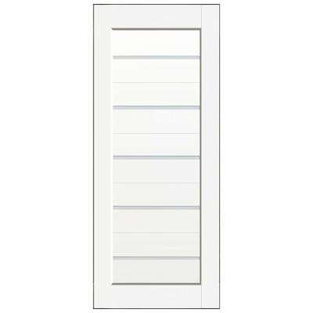 Beautiful 30 In. X 80 In. Glacier White Single Panel With Decorative Matte Glass  Stripes