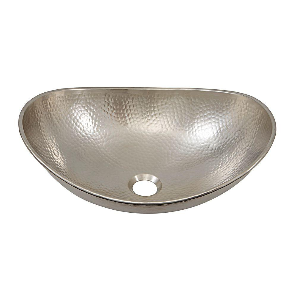 Above Counter Handcrafted Vessel Sink In Hammered Nickel