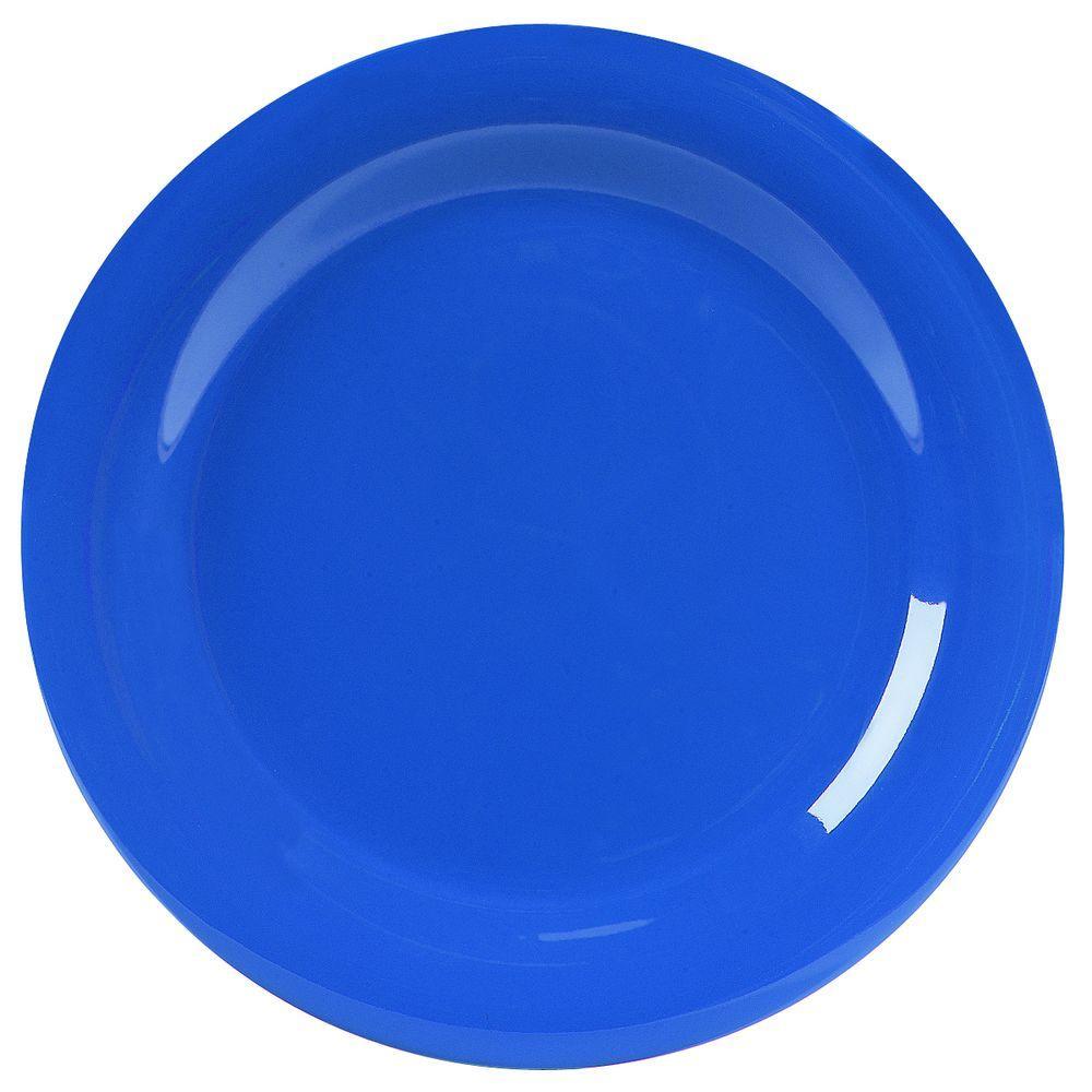 10.5 in. Diameter Melamine Narrow Rim Dinner Plate in Ocean Blue (Case of 12)