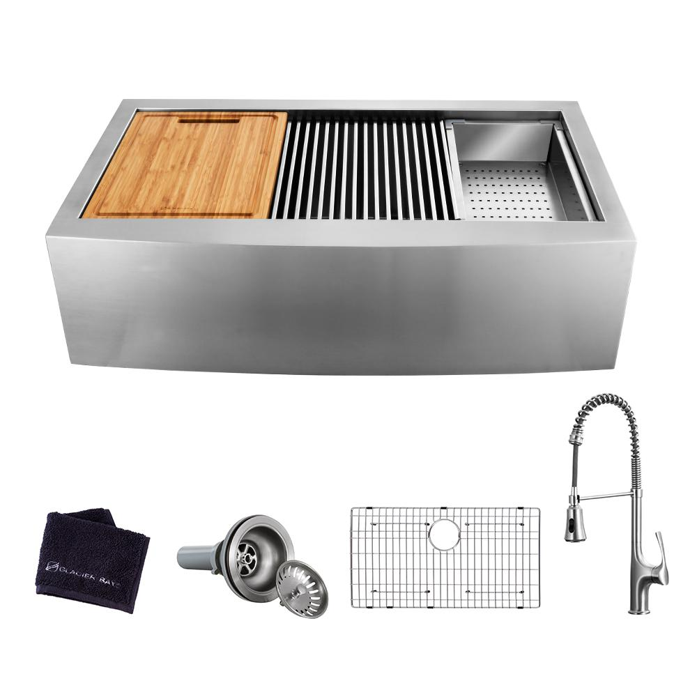 GLACIER BAY Glacier Bay All-in-One Apron-Front Farmhouse Stainless Steel 30 in. Single Bowl Workstation Sink with Faucet and Accessories, Brushed Stainless Steel