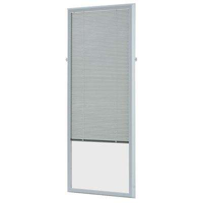 White Cordless Add On Enclosed Aluminum Blinds with 1/2 in. Slats, for 20 in. Wide x 64 in. Length Door Windows