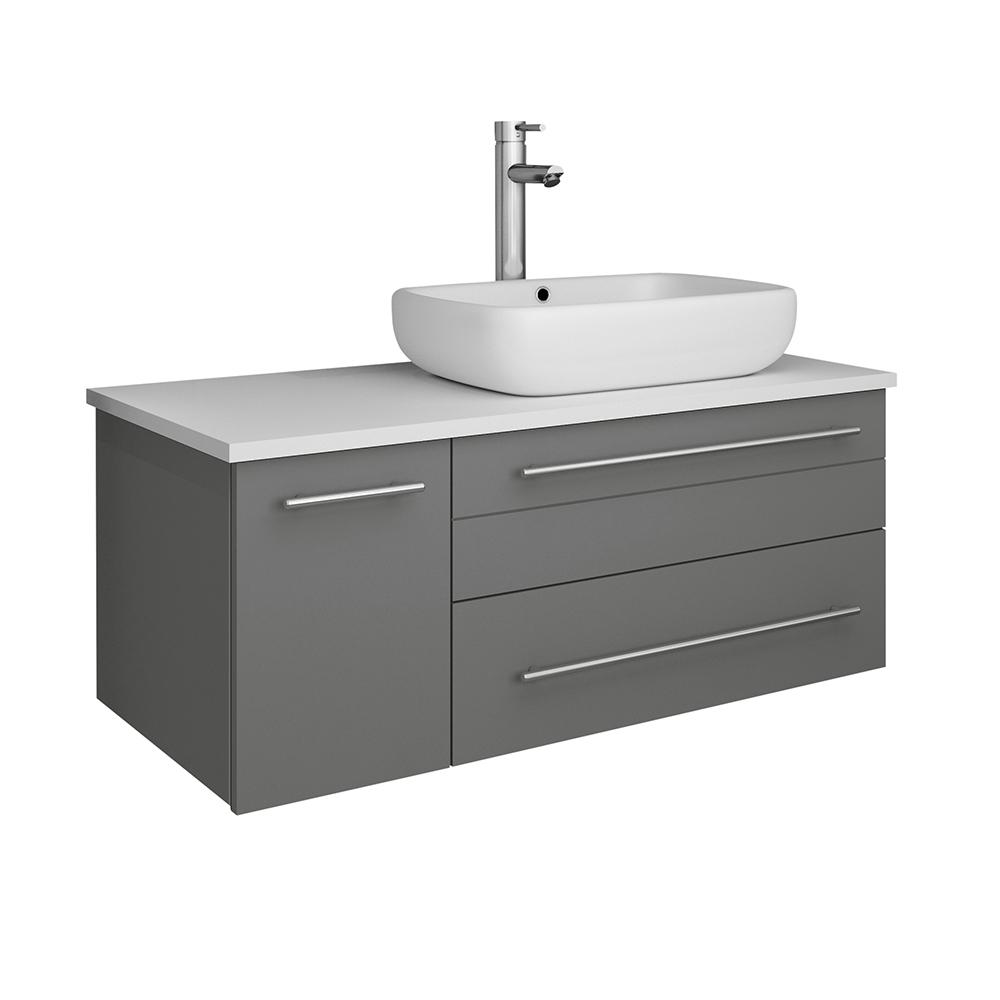 Fresca Lucera 36 in. W Wall Hung Bath Vanity in Gray with Quartz Stone Vanity Top in White with White Basin