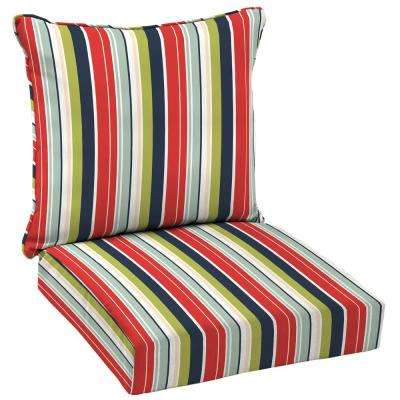 Francesca Stripe 2 Piece Deep Seating Outdoor Dining Chair Cushion Set Part 90