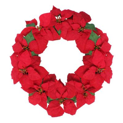 24 in. x 3 in. Unlit Red Poinsettia Flower Artificial Christmas Wreath
