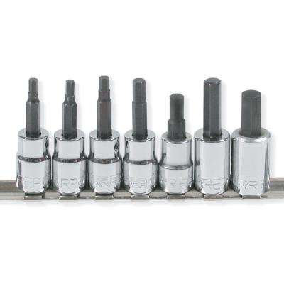 3/8 in. Drive 1/8 in. to 3/8 in. Hex Tip Chrome Socket Set (7-Piece)