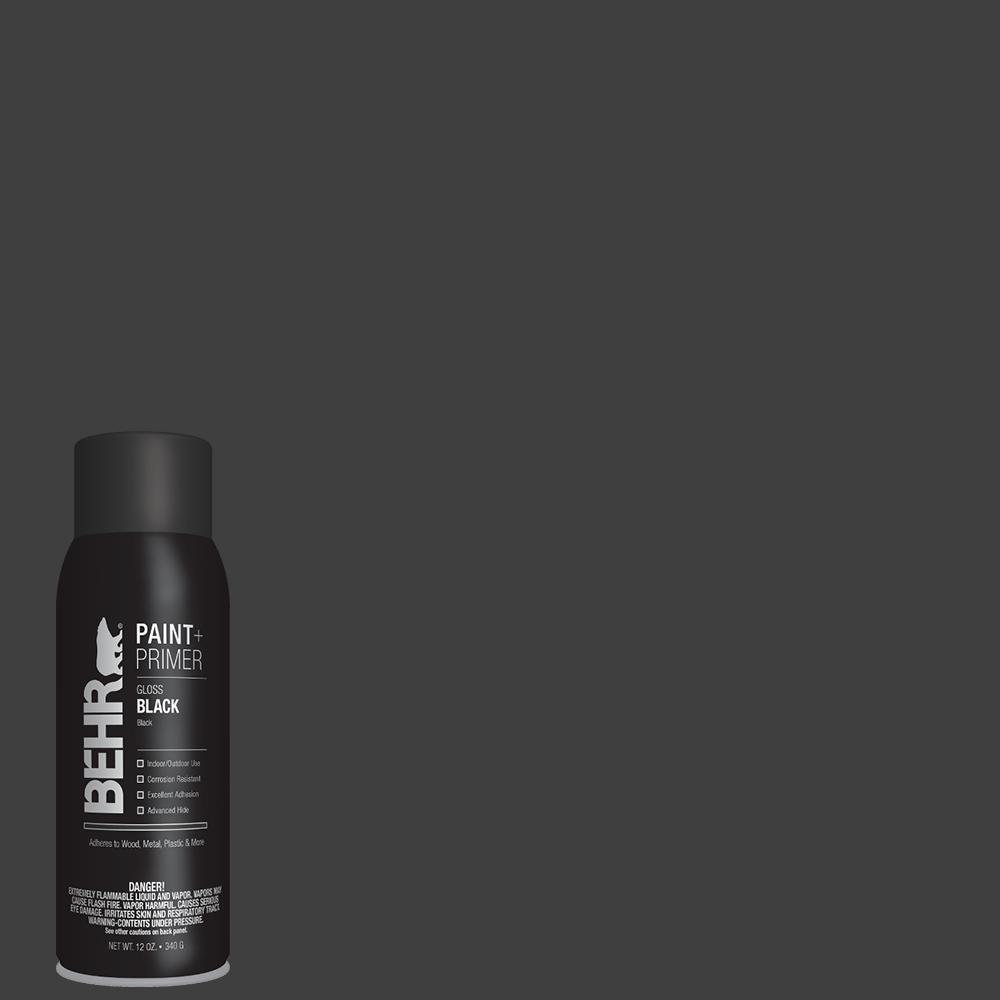 BEHR 12 oz. Black Gloss Interior/Exterior Spray Paint and Primer in One Aerosol