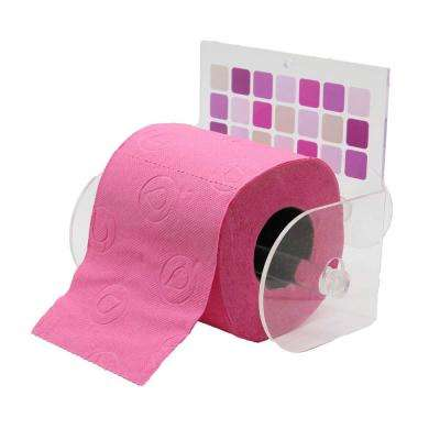 Mosaic Toilet Paper Holder Paper 1-Roll Holder Suction Mounted in 100% Acrylic