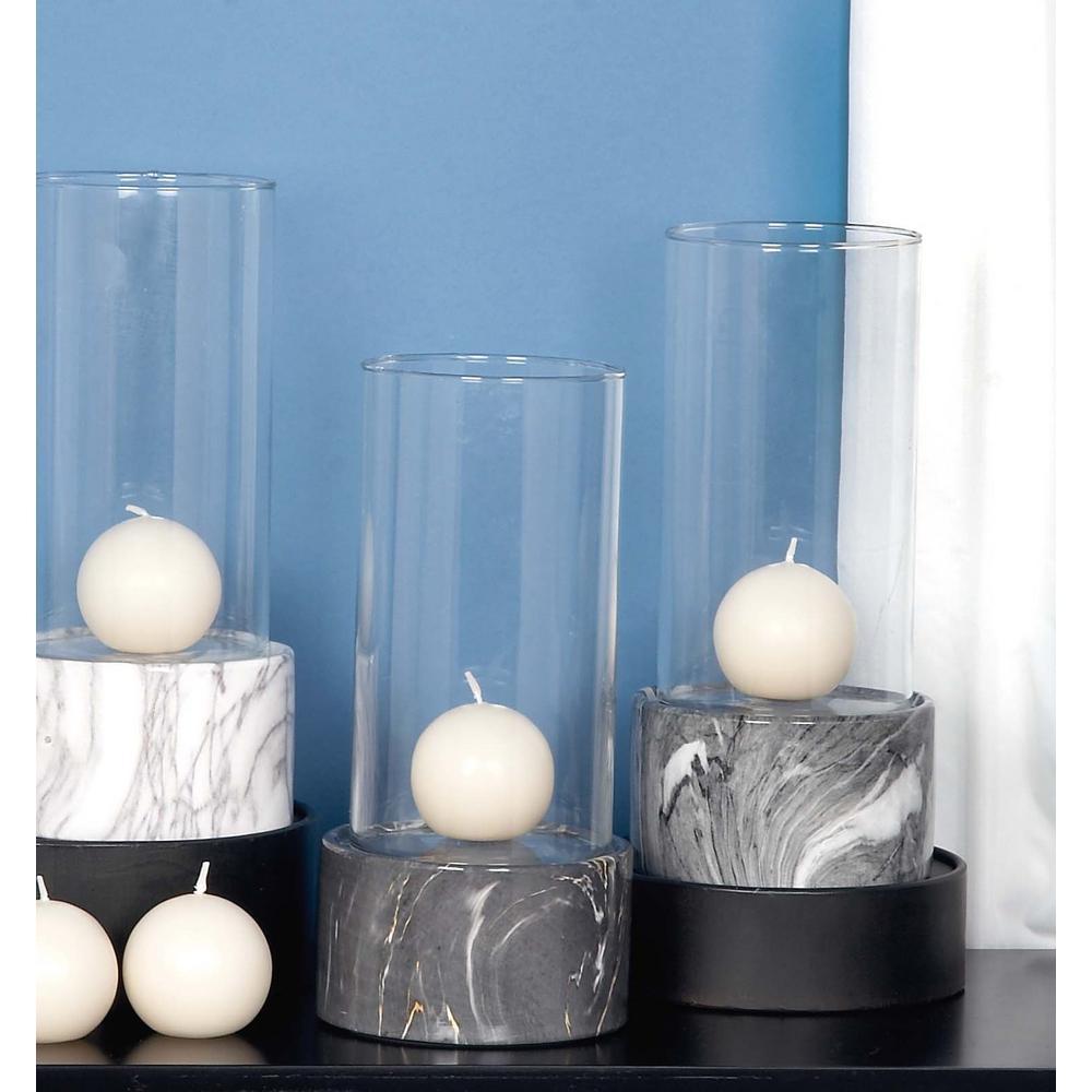 Litton Lane 11 in. x 5 in. Ceramic and Glass Decorative Gray Hurricane Lamp