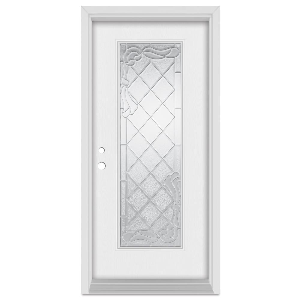 Stanley Doors 32 in. x 80 in. Art Deco Right-Hand Full Lite Zinc Finished Fiberglass Mahogany Woodgrain Prehung Front Door