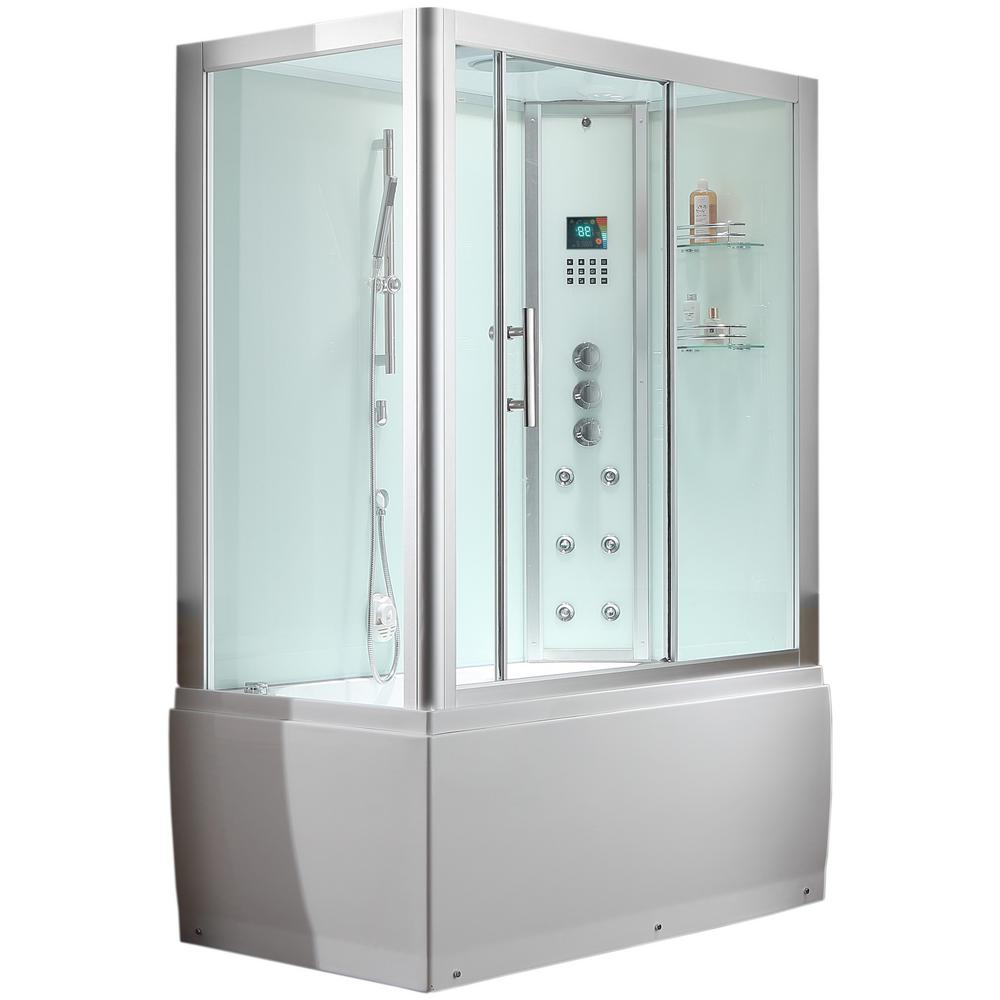 Ariel Platinum 59 in. x 87.4 in. x 32 in. Steam Shower Enclosure Kit ...