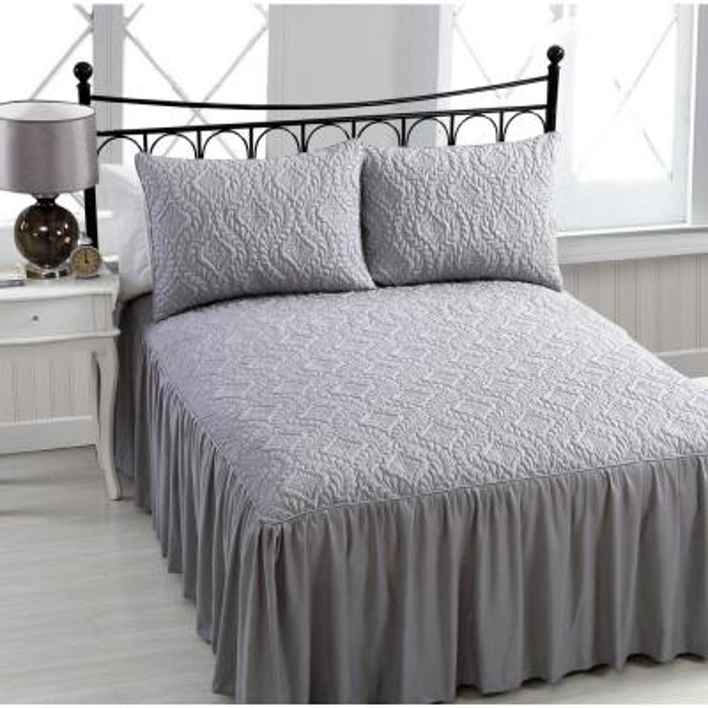 Samantha 3-Piece Grey King Bedspread