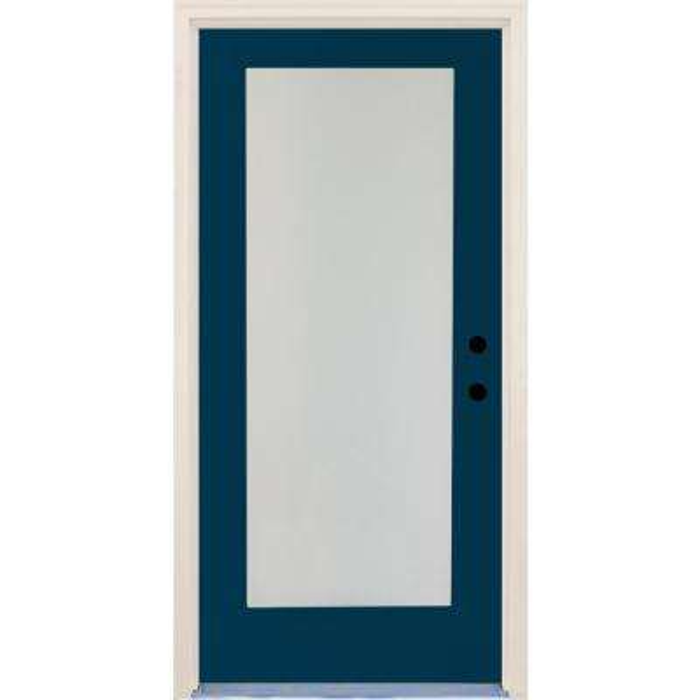 36 in. x 80 in. Elite Atlantis Satin Etch Glass Contemporary Full Lite Painted Fiberglass Prehung Front Door