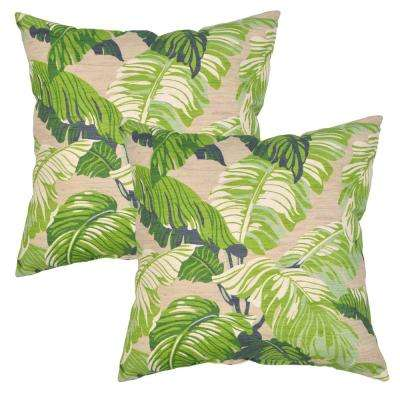 Fern Tropical Square Outdoor Throw Pillow (2-Pack)