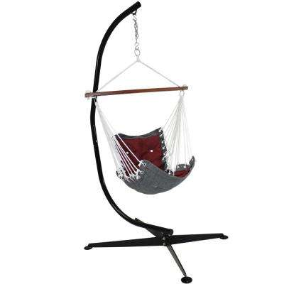 3.5 ft. Fabric Tufted Victorian Hammock with Stand in Red