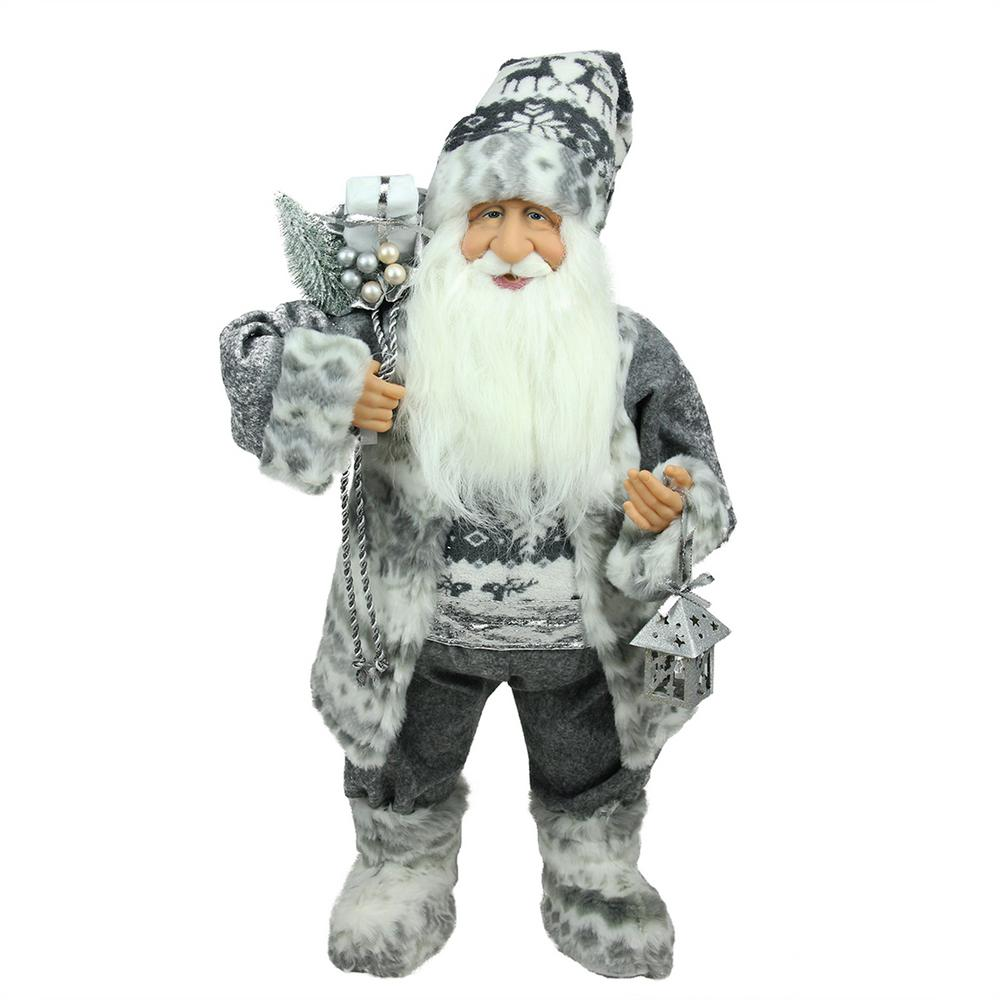 24 in. Alpine Chic Standing Santa Claus in Gray and White